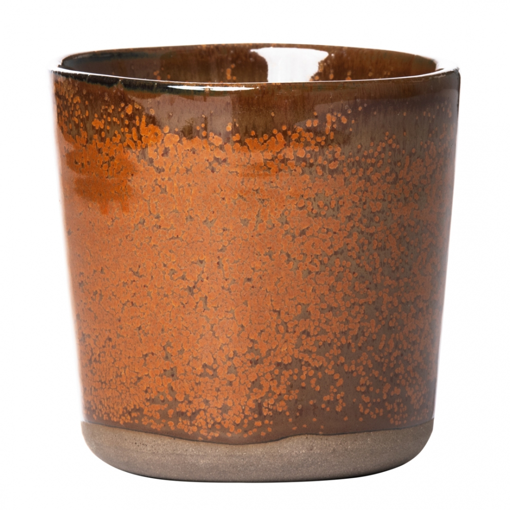 Bicchiere in ceramica marrone e ocra