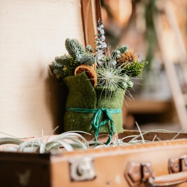Composizione con lana cotta verde e materiali freschi e secchi