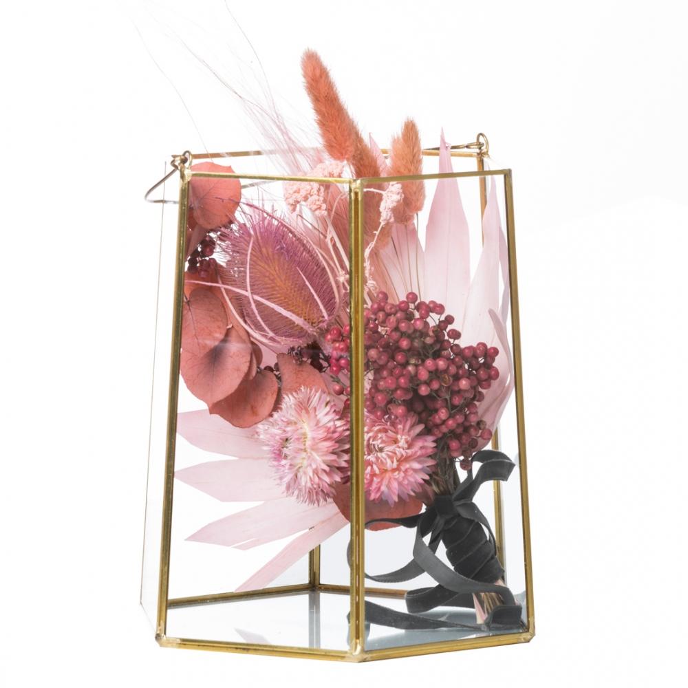 Lanterna esagonale con composizione di fiori secchi
