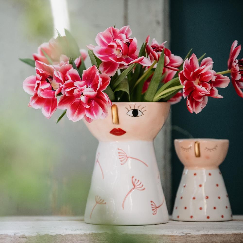 Vaso decorato con viso large