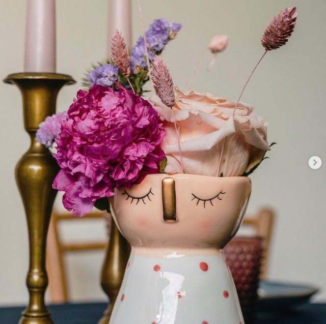 Vaso decorato con viso small