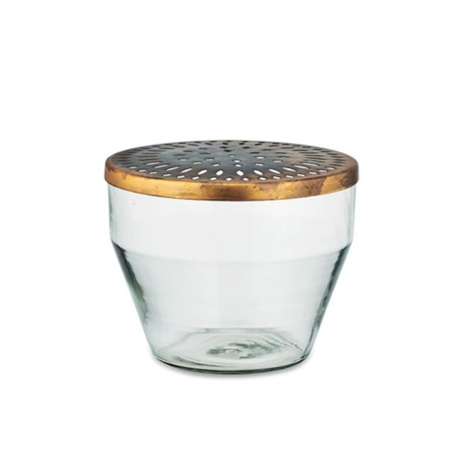 Vaso in vetro con coperchio in ottone large